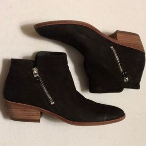 Sam Edelman Black Suede Double Zip Boots sz 8.5